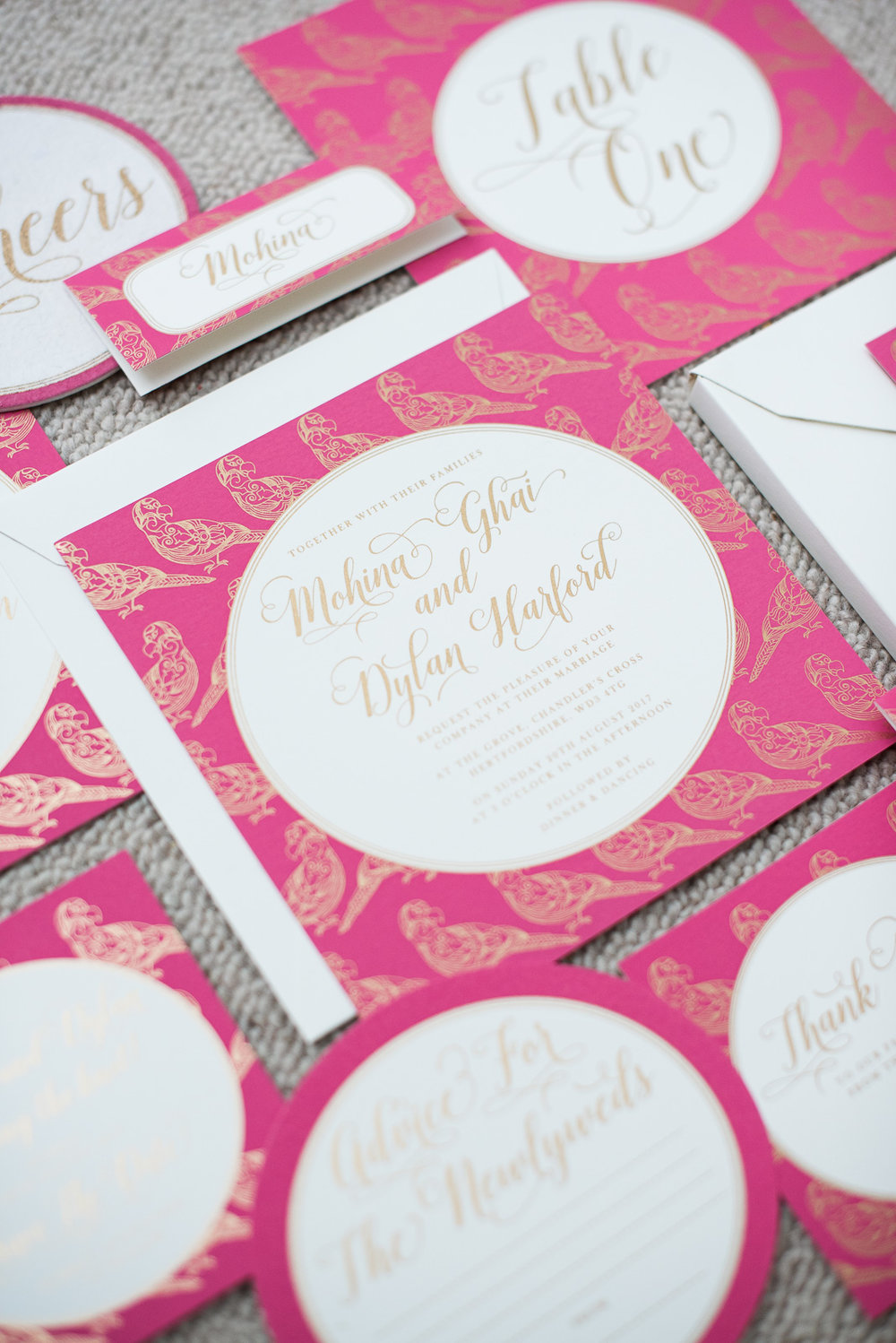 screenprinted bespokeweddingstationery2 ananyacards.com